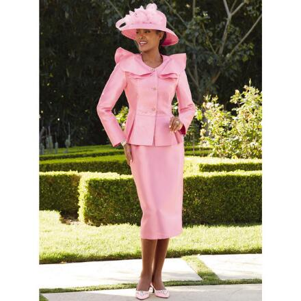 Full-Collar Peplum Suit by Lisa Rene