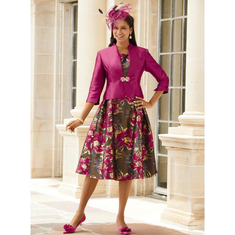 Floral Riches Jacquard Jacket Dress by EY Boutique