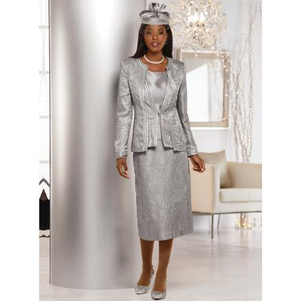Accent on Shine Jacquard 3-Pc. Suit by LUXE