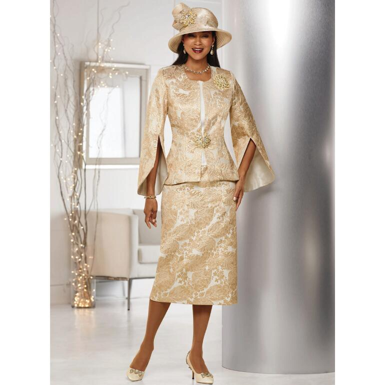 Marvelous Metallic Brocade 3-Pc. Suit by LUXE