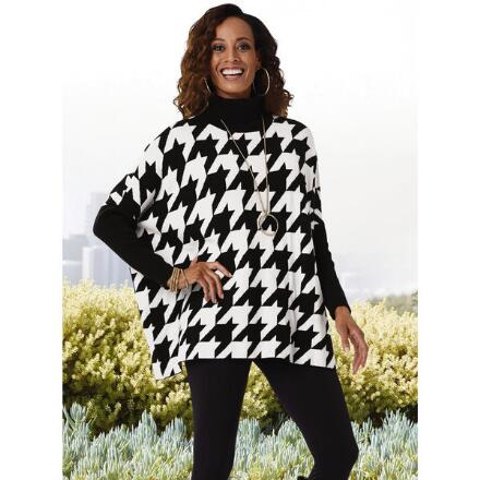 Houndstooth Sweater Poncho by Joseph A