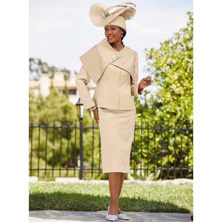 Studded Statement Leatherette Suit by Lisa Rene Black Label