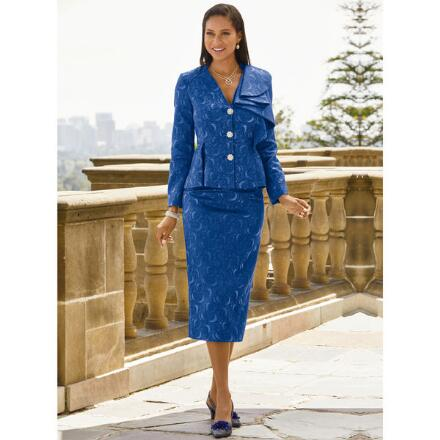 Rich and Ruffled Jacquard Suit by EY Signature