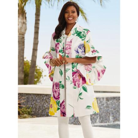 Floral Flutter-Sleeve Duster by Studio EY