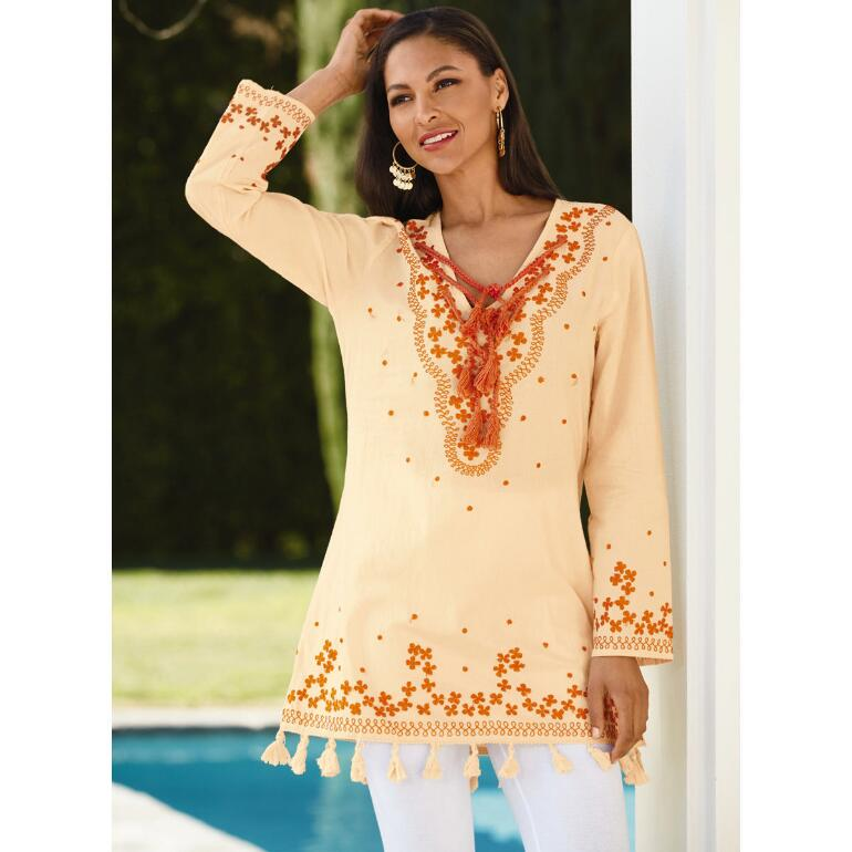 Embroidered Tassel Tunic by Velzara