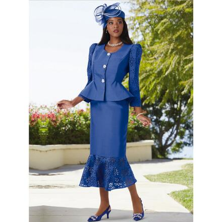 A Flair for Laserwork Suit by Dorinda Clark-Cole
