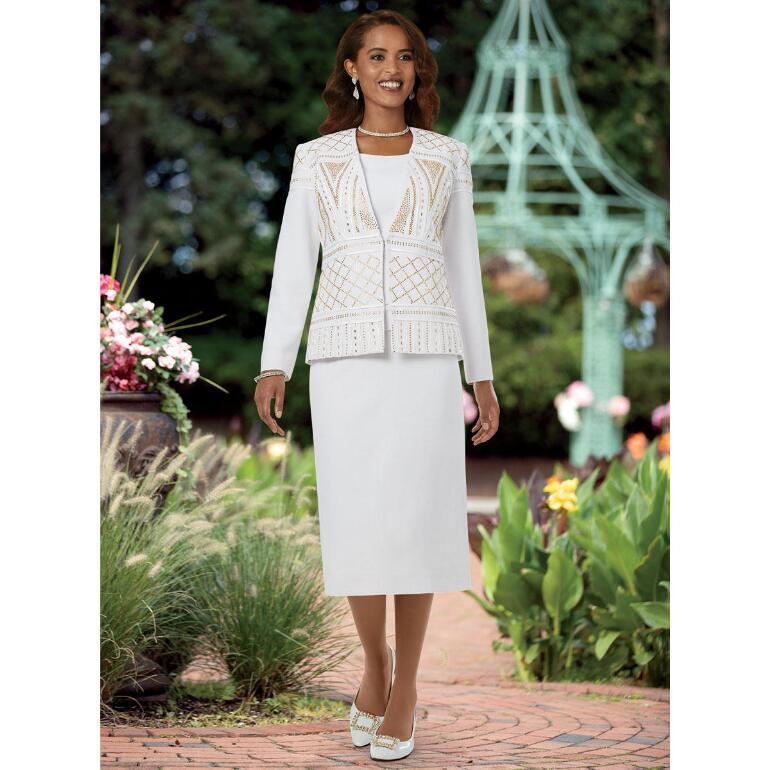 Ribboned with Shine Knit 3-Pc. Suit by EY Boutique