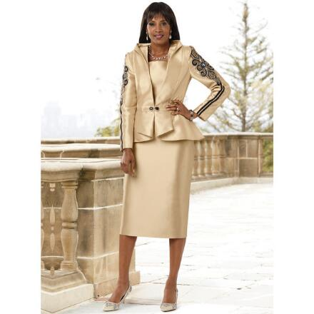 Accent on Sleeves Suit by Lisa Rene
