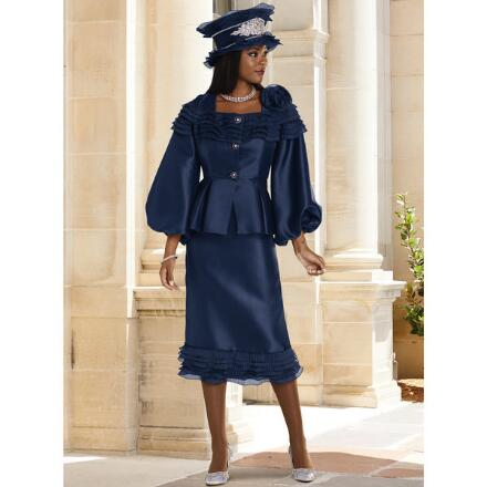 Touched with Ruffles Suit by Lisa Rene Black Label