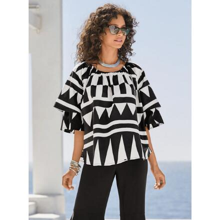 Geo-Tribal Tiered Top by Studio EY