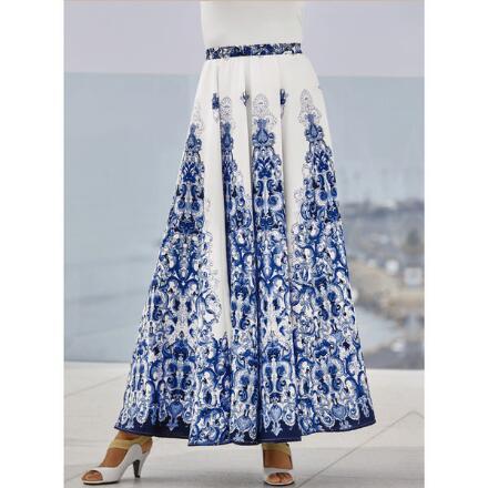 Scrolls of Blue 5-Yard Maxi Skirt by Studio EY