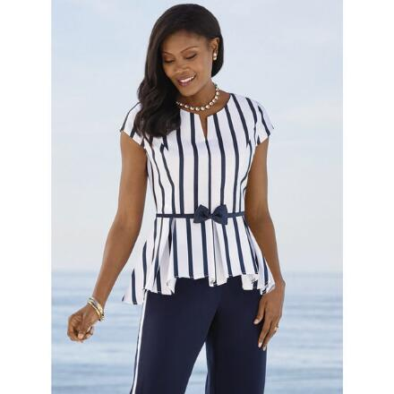 Stripes and Bows High-Low Top by Studio EY