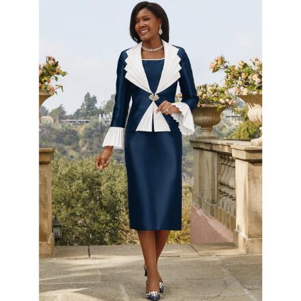 Pleasing Pleat-Trim 3-Pc. Suit by Tally Taylor