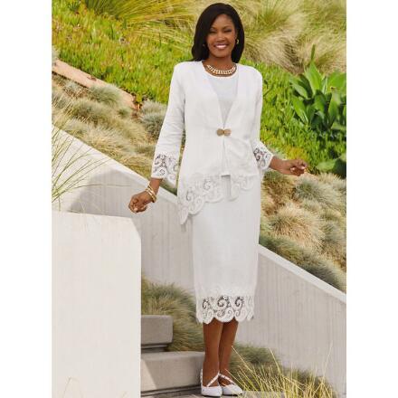 Asymmetric Lace-Border Linen 3-Pc. Skirt Set by EY Signature