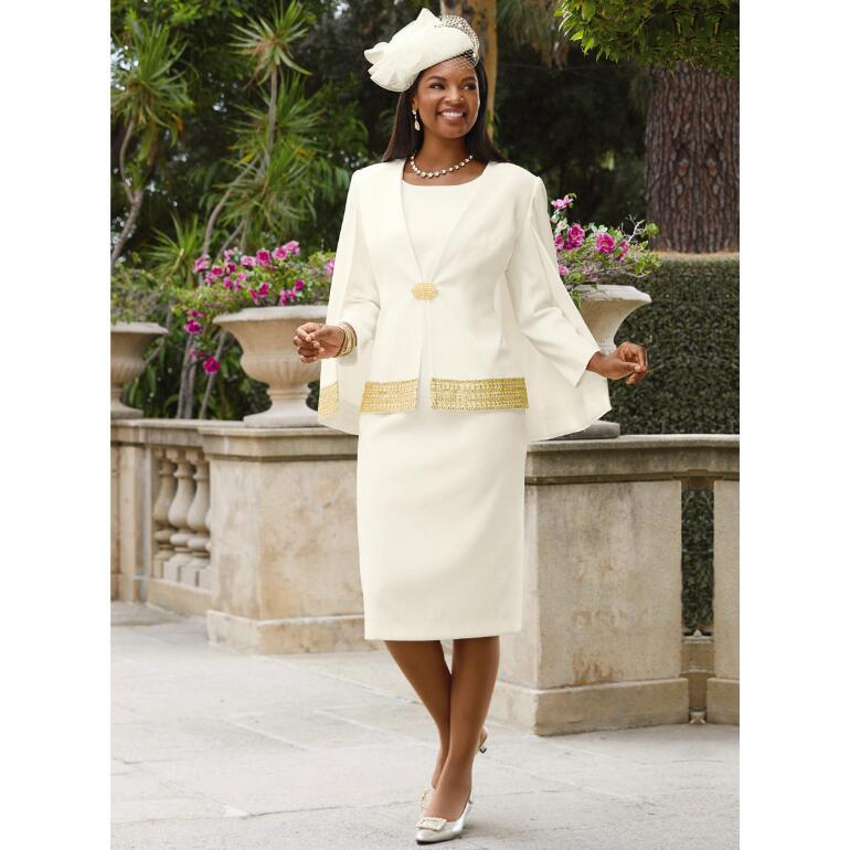 Touched with Gold Jacket Dress by EY Signature