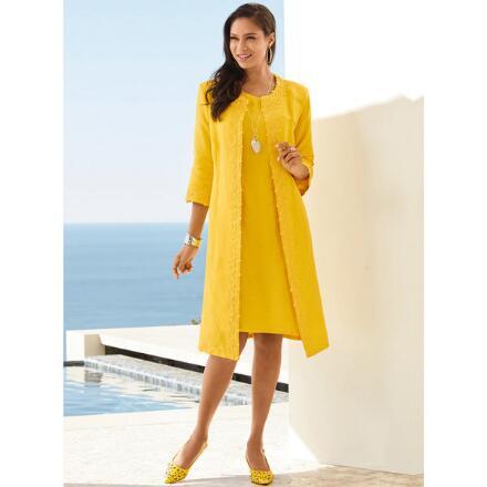 Lace-Trim Linen Jacket Dress by EY Boutique