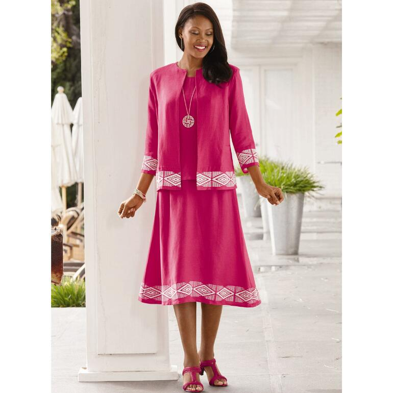 Bold Borders Linen 3-Pc. Skirt Set