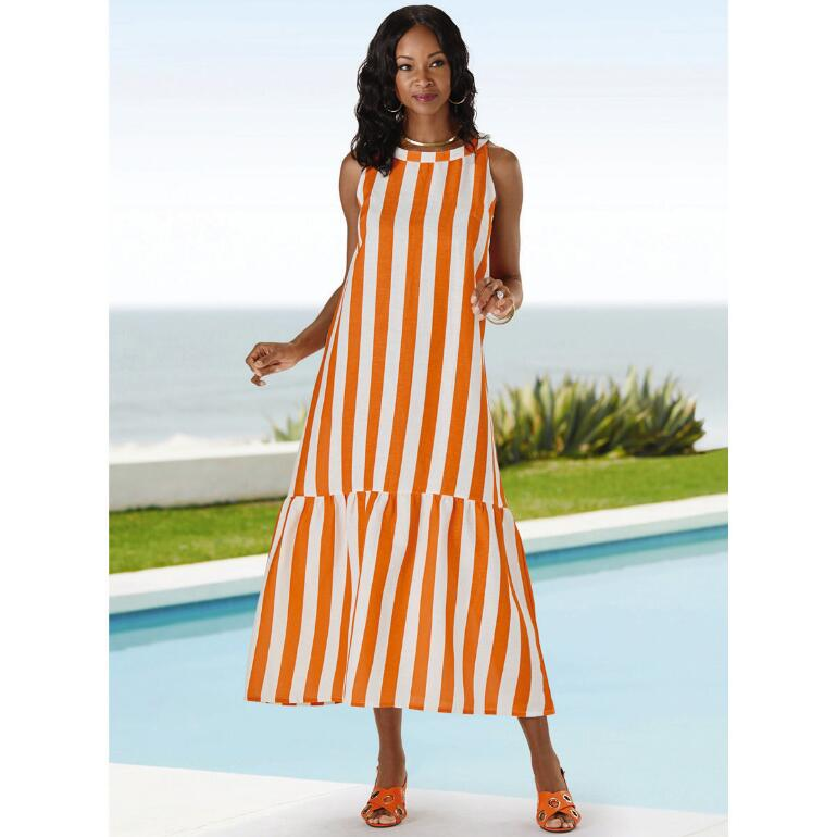 Striking Stripes Linen Maxi Dress by EY Signature