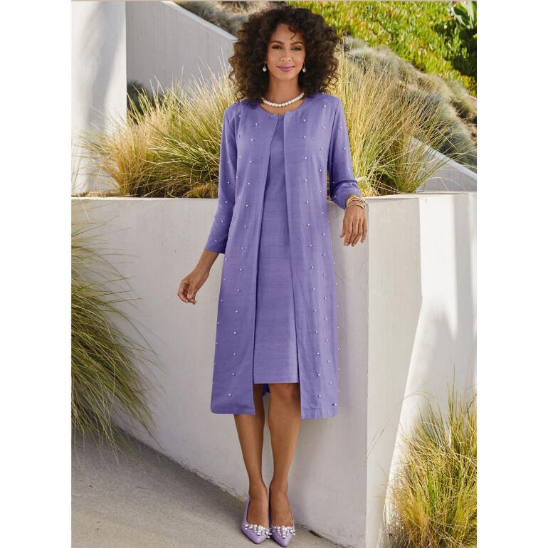 Plenty of Pearls Linen Duster Dress by EY Signature