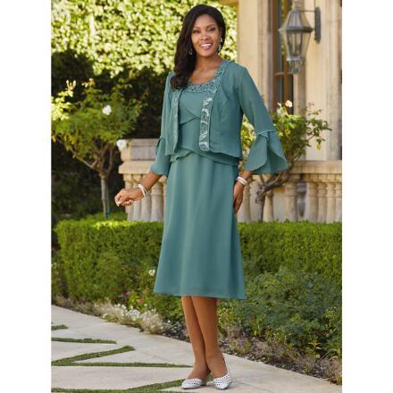 Embellished Lace-Trim Jacket Dress by Le Bos