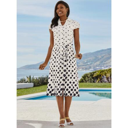 Do It with Dots Linen Dress by EY Signature