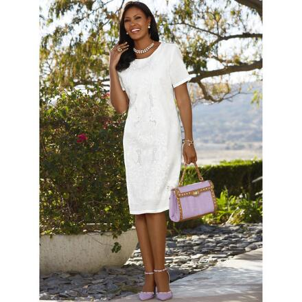 Beautiful Embroidered Linen Dress by EY Boutique