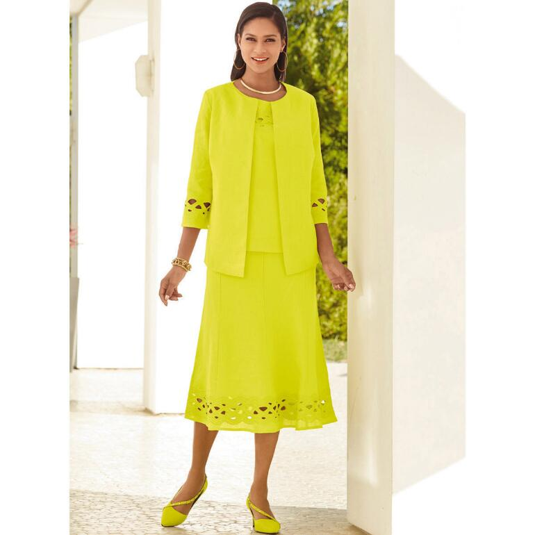 Lattice-Trim 3-Pc. Linen Skirt Set by EY Signature