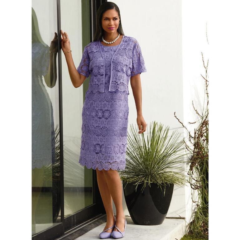 Crochet-Lace Jacket Dress by EY Signature