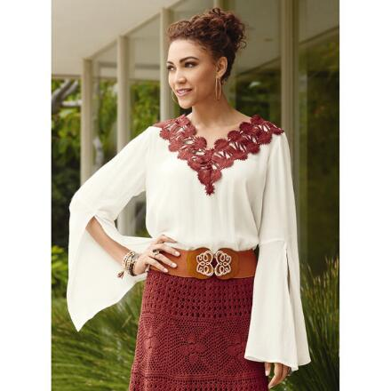Crochet-Trim Flare Sleeve Top by Studio EY
