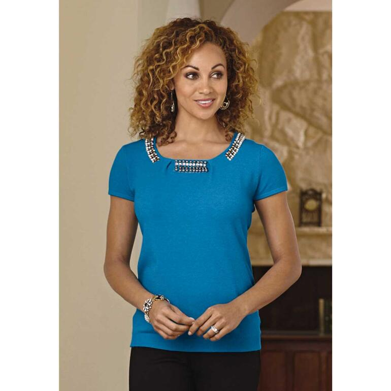 Jeweled Short-Sleeve Sweater by Studio EY