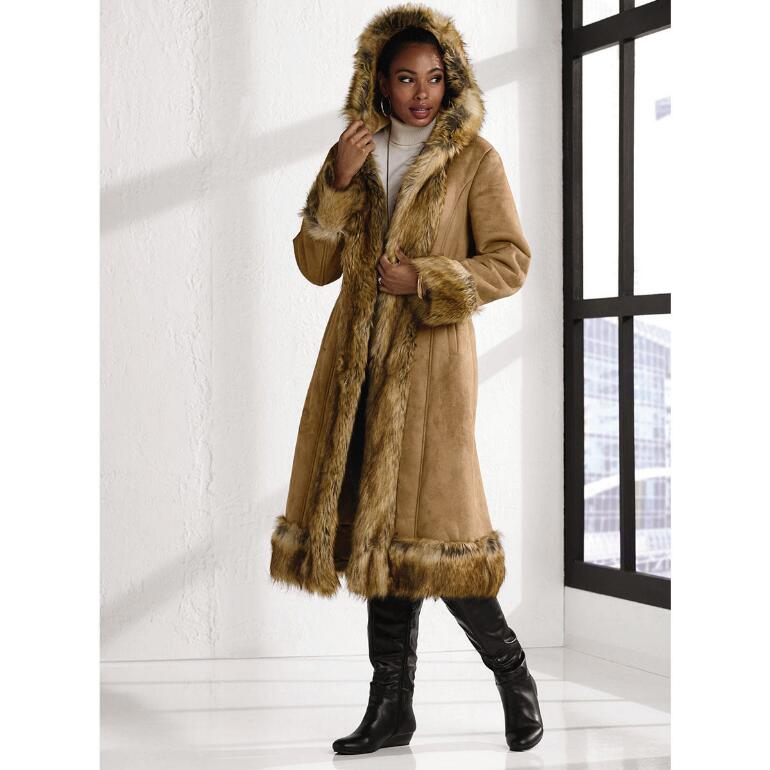 Faux-Shearling Long Coat by LUXE