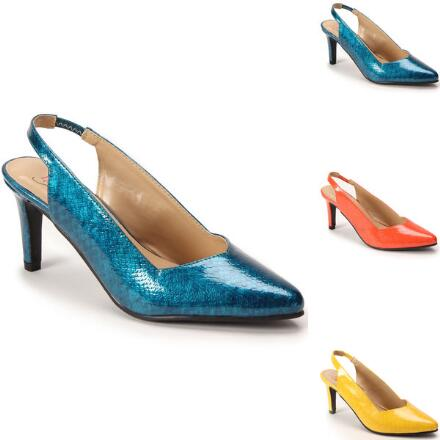 Snakeskin-Textured Slingback by EY Boutique