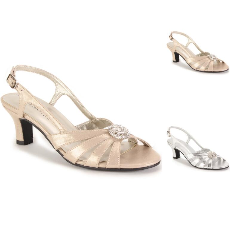 Jeweled Cluster Metallic Slingback by EY Boutique