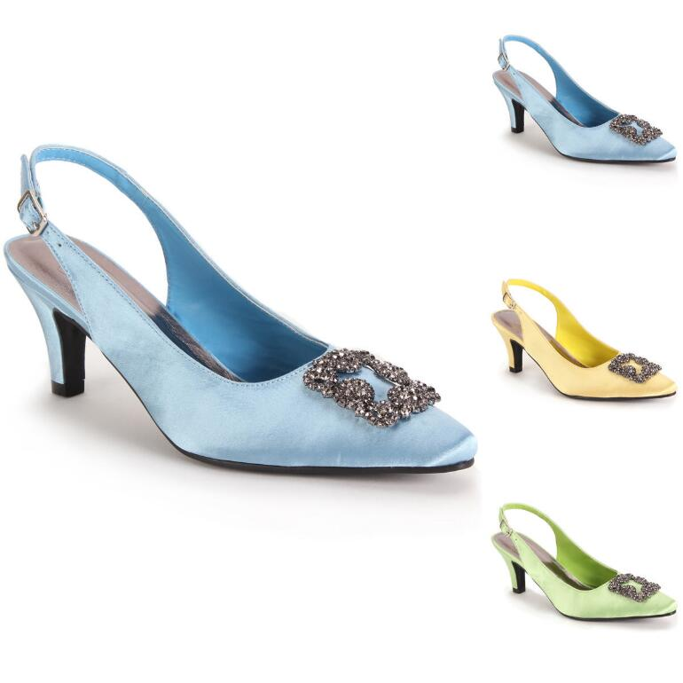 Jet Buckle Satin Slingback by EY Boutique
