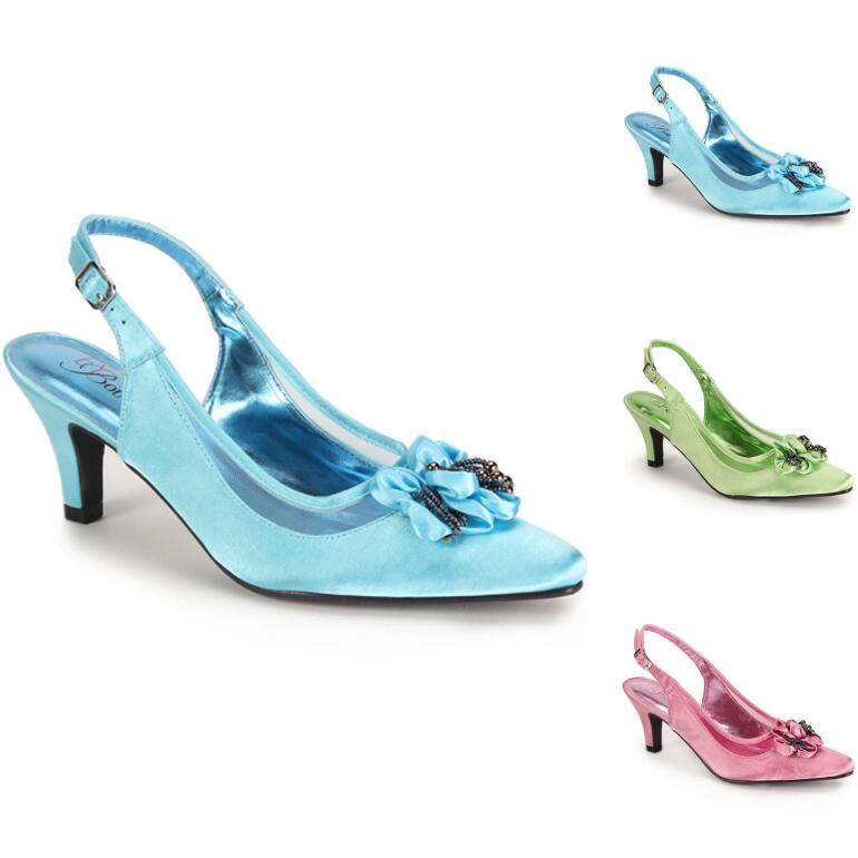 Beaded Accent Satin Slingback by EY Boutique