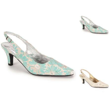 Metallic Brocade Slingback by EY Boutique