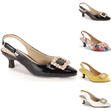 Jeweled-Buckle Slingback by EY Signature