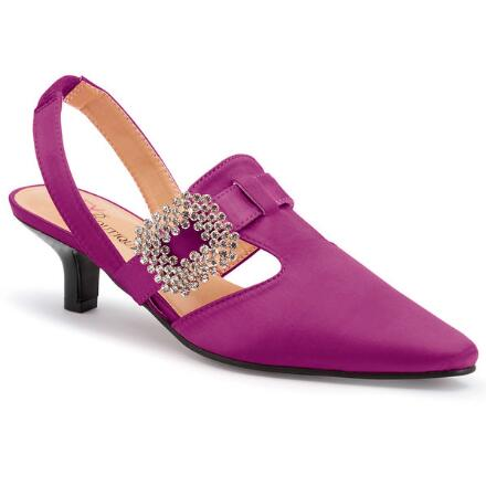 Side-Buckle Satin Slingback by EY Boutique