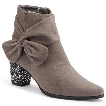 Glitter-Heel Sueded Ankle Bootie by EY Boutique