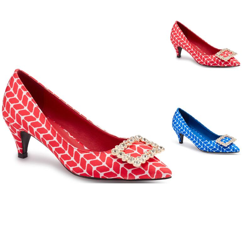 Geo-Print Buckle Pump by EY Boutique