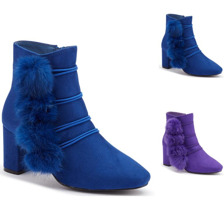 Pompom Sueded Ankle Bootie by EY Boutique