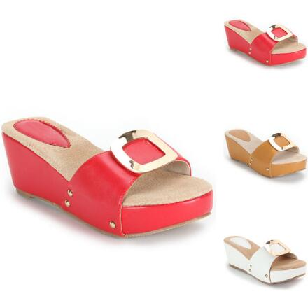 Buckle Platform Slides by GC Shoes