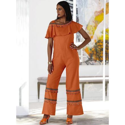 Ruffle-Neck Beaded Linen Jumpsuit by Lisa Rene