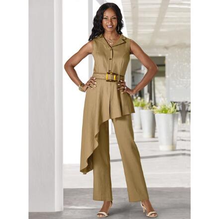 Buckle Up in Style Linen Jumpsuit by Lisa Rene