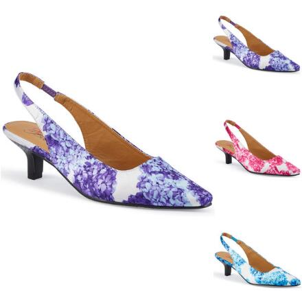 Hydrangea-Print Slingback by EY Boutique
