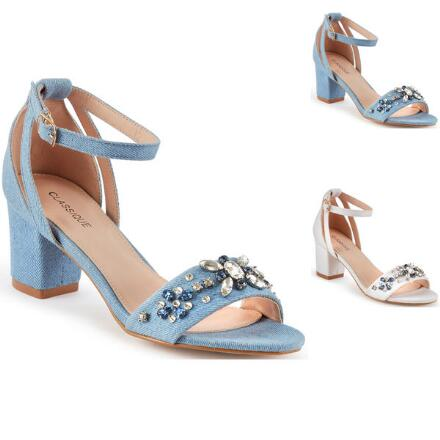 Dazzling Denim Ankle Strap by EY Boutique