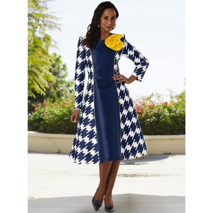 Designer Houndstooth Dress by Dorinda Clark-Cole