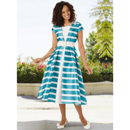Stripes of Elegance Dress by EY Boutique