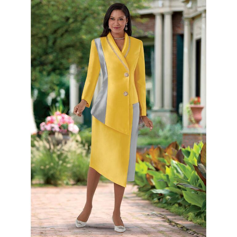 Simple and Stunning Asymmetry Suit by EY Boutique