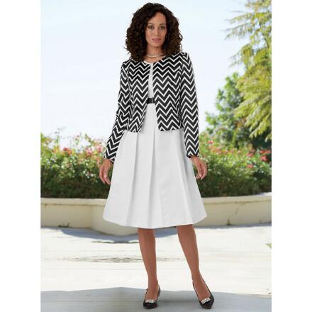 Chic Chevron-Print Jacket Dress by EY Boutique